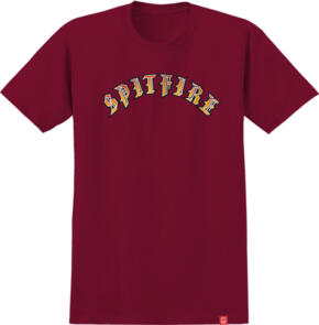 SPITFIRE OLD E S/S T-SHIRT CARDINAL W/ RED TO YELLOW FADE PRINT