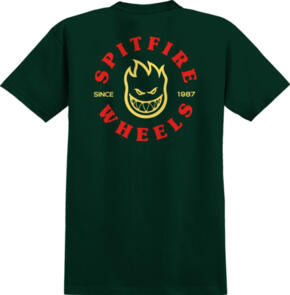 SPITFIRE BIGHEAD CLASSIC S/S T-SHIRT FORREST GREEN W/ RED & YELLOW PRINTS