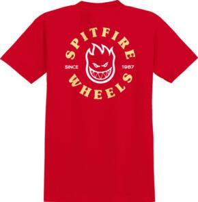 SPITFIRE BIGHEAD CLASSIC S/S POCKET T-SHIRT RED W/ YELLOW & WHITE PRINTS