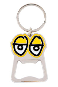 KROOKED EYES KEYCHAIN POLISHED NICKEL W/ YELLOW FILL