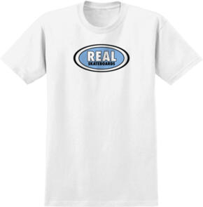 REAL OVAL WHITE W/ LT BLUE PRINT