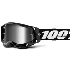 100% RACECRAFT MOTO GOGGLE BLACK - MIRROR SILVER LENS