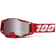 100% ARMEGA MOTO GOGGLE RED - HIPER SILVER LENS