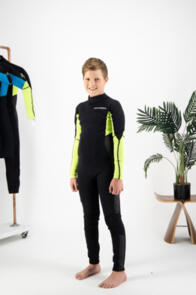 COASTLINES WETSUITS YOUTH CLASSIC 3/2 FL BZ STEAMER BLACK LIME