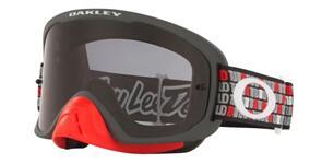 OAKLEY O FRAME 2.0 PRO - TLD MONOGRAM GUNMETAL RED MX GOGGLES WITH DARK GREY LENS