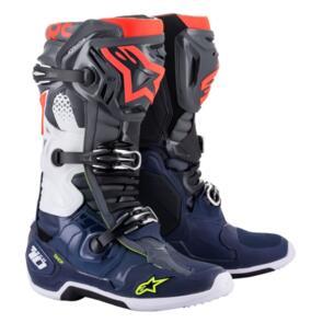 ALPINESTARS 2021 TECH-10 MX BOOTS DARK GRAY/DARK BLUE/RED