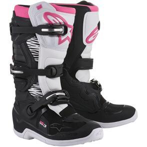 ALPINESTARS STELLA TECH-3 MX BOOTS BLACK/WHITE/PINK