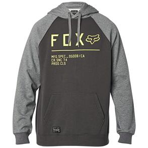 FOX RACING FOX NON STOP RAGLAN PULLOVER FLEECE HOODY [SMOKE]