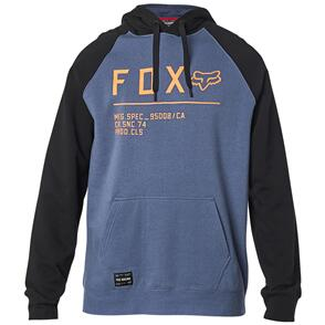 FOX RACING FOX NON STOP RAGLAN PULLOVER FLEECE HOODY [BLUE STEEL]
