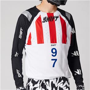 SHIFT 2021 BLUE LABEL FLAME JERSEY [WHITE/BLACK]