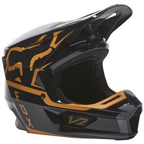 FOX RACING 2022 V2 MERZ HELMET ECE [BLACK/GOLD]