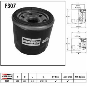 CHAMPION OIL FILTER H/D CHROME  HF173