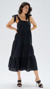 MINKPINK DAKHIA BOW TIE MAXI DRESS BLACK