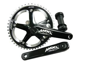 "ANDEL TRACK CRANKSET 170MM INTEG B/B 48T 144 1/8"" BLACK"