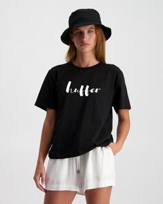 HUFFER WOMENS STELLA TEE/LOOSE MOOSE BLACK