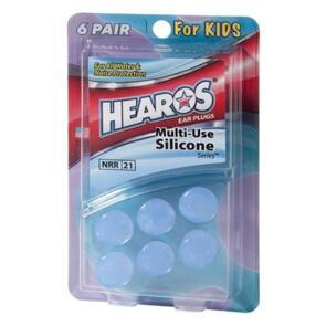 HEAROS MULTI-USE SILICONE KIDS EARPLUGS - 6 PAIRS
