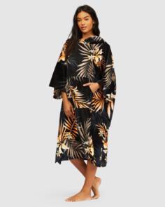 BILLABONG 2021 WOMENS HOODED TOWEL BLACK PEBBLE
