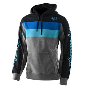 TROY LEE DESIGNS BLOCK SIGNATURE PO HOODIE GRAY HEATHER / BLUE