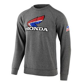 TROY LEE DESIGNS TLD HONDA RETRO VICTORY WING CREW FLEECE GUNMETAL HTR