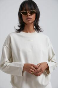 AFENDS WOMENS JUNO - HEMP OVERSIZED CREW NECK - OFF WHITE