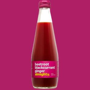 """ALMIGHTY BEVERAGES BEETROOT, BLACKCURRANT AND GINGER JUICE 300ML 12 PACK"""""""