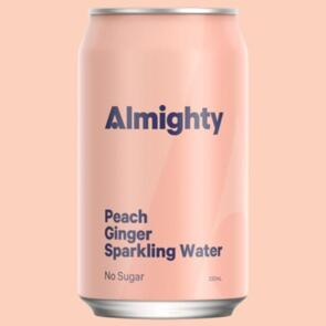 ALMIGHTY BEVERAGES PEACH AND GINGER SPARKLING WATER 330ML 24 PACK
