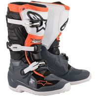 ALPINESTARS 2020 TECH-7S YOUTH MX BOOTS BLACK/GRAY/WHITE/ORANGE FLUORO