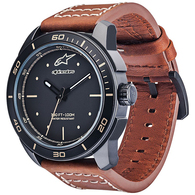 ALPINESTARS TECH WATCH HERITAGE 3H MAT BLK BROWN LEATHER