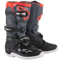 ALPINESTARS YOUTH TECH-7S MX BOOTS BLACK DARK GRAY RED FLUORO