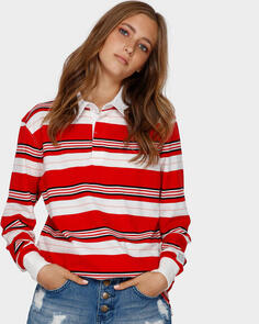BILLABONG WOMENS DOUBLE UP RUGBY LS SHIRT RED