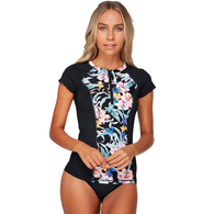 BILLABONG 2019 WOMENS SNOWFLAKES SS RASH BLACK