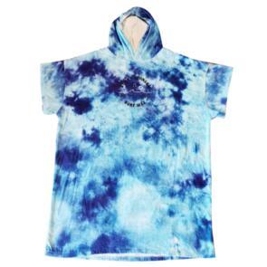 STICKY JOHNSON KIDS SMALL (6-12YR) HOODED TOWEL TIE DYE BLUE