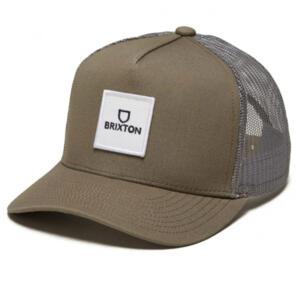 BRIXTON ALPHA BLOCK X C MP MESH CAP PINE BARK