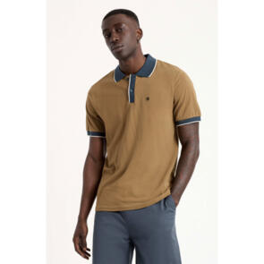 BRIXTON PROPER S/S POLO KNIT OLIVE/WASHED NAVY