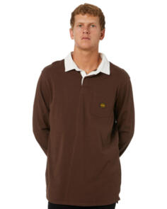 DEPACTUS CAST RUGBY KNIT POLO EARTH BROWN
