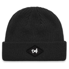 DEF AWG RIBBED BEANIE (RUBBER PATCH) BLACK