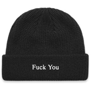 DEF TYPEFACE RIBBED BEANIE BLACK