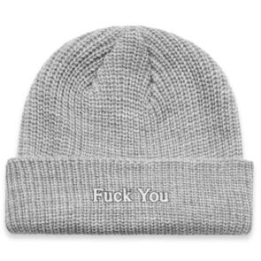 DEF TYPEFACE RIBBED BEANIE GREY