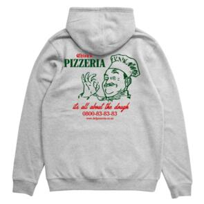 DEF CHIZA'S PIZZERIA HOOD (300GSM) HEATHER GREY