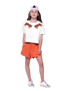 THE GIRL CLUB EMBROIDERED TIGERS CROP TEE WHITE