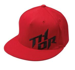 THOR HAT STACKED CURVED BILL FLEXFIT RED