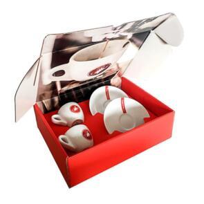 CASTELLI ESPRESSO CUP SET WHITE/RED