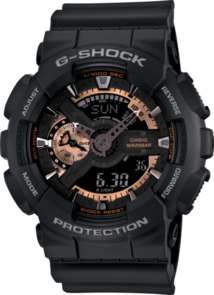 G-SHOCK ANALOGUE/DIGITAL MENS BLACK/ROSE GOLD WATCH GA-110RG-1A
