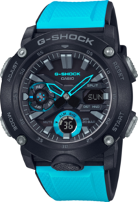 CASIO G-SHOCK ANALOGUE/DIGITAL CARBON CORE GUARD BLACK/BLUE MEN'S WATCH GA2000-1A2