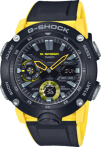 CASIO G-SHOCK ANALOGUE/DIGITAL CARBON CORE GUARD BLACK/YELLOW MEN'S WATCH GA2000-1A9