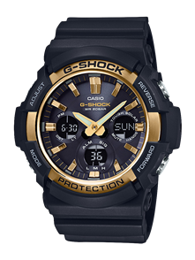 CASIO G-SHOCK GAS100 TOUGH SOLAR ANALOGUE-DIGITAL WATCH BLACK & GOLD