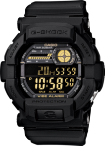 CASIO G-SHOCK DIGITAL MENS BLACK VIBRATION ALERT WATCH GD-350-1B