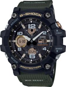 CASIO G-SHOCK ANALOGUE/DIGITAL MENS BLACK/GREEN SOLAR MUDMASTER WATCH GSG-100-1A3