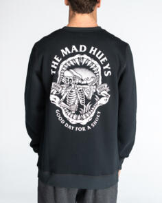 THE MAD HUEYS DRINK QUICK CREW SWEATER VINTAGE BLACK