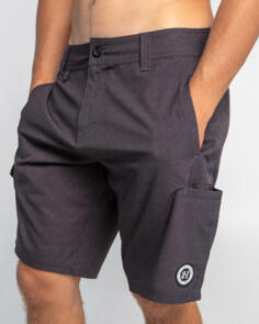 THE MAD HUEYS HYBRID UTILITY SHORT BLACK HEATHER